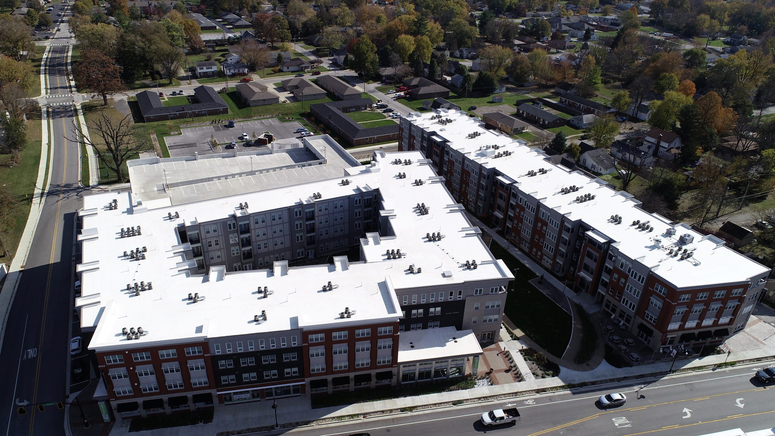 brownburg town center commercial roofing project by ce reeve roofing in indiana
