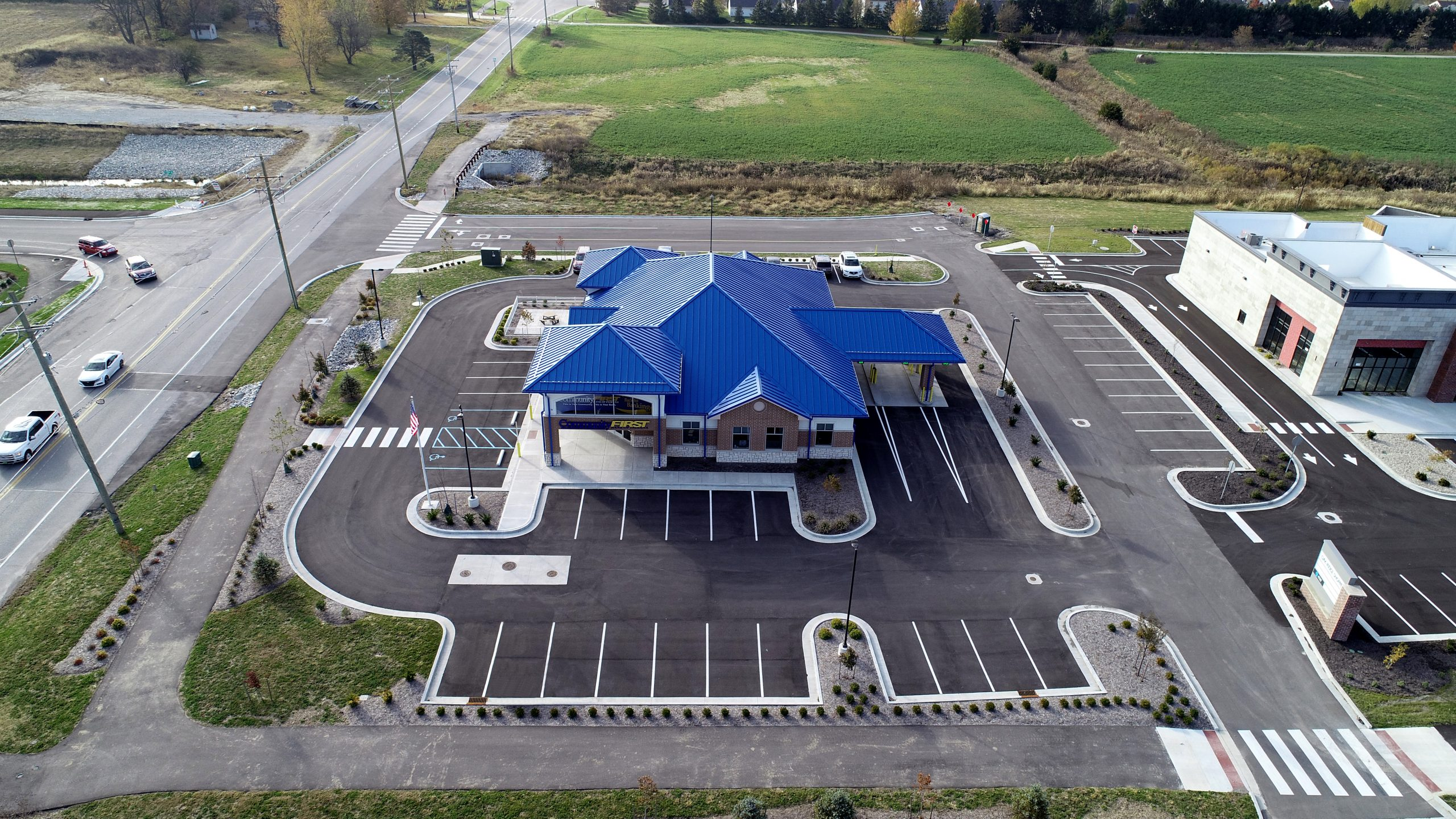 Community first bank commercial roofing project by ce reeve roofing in indiana