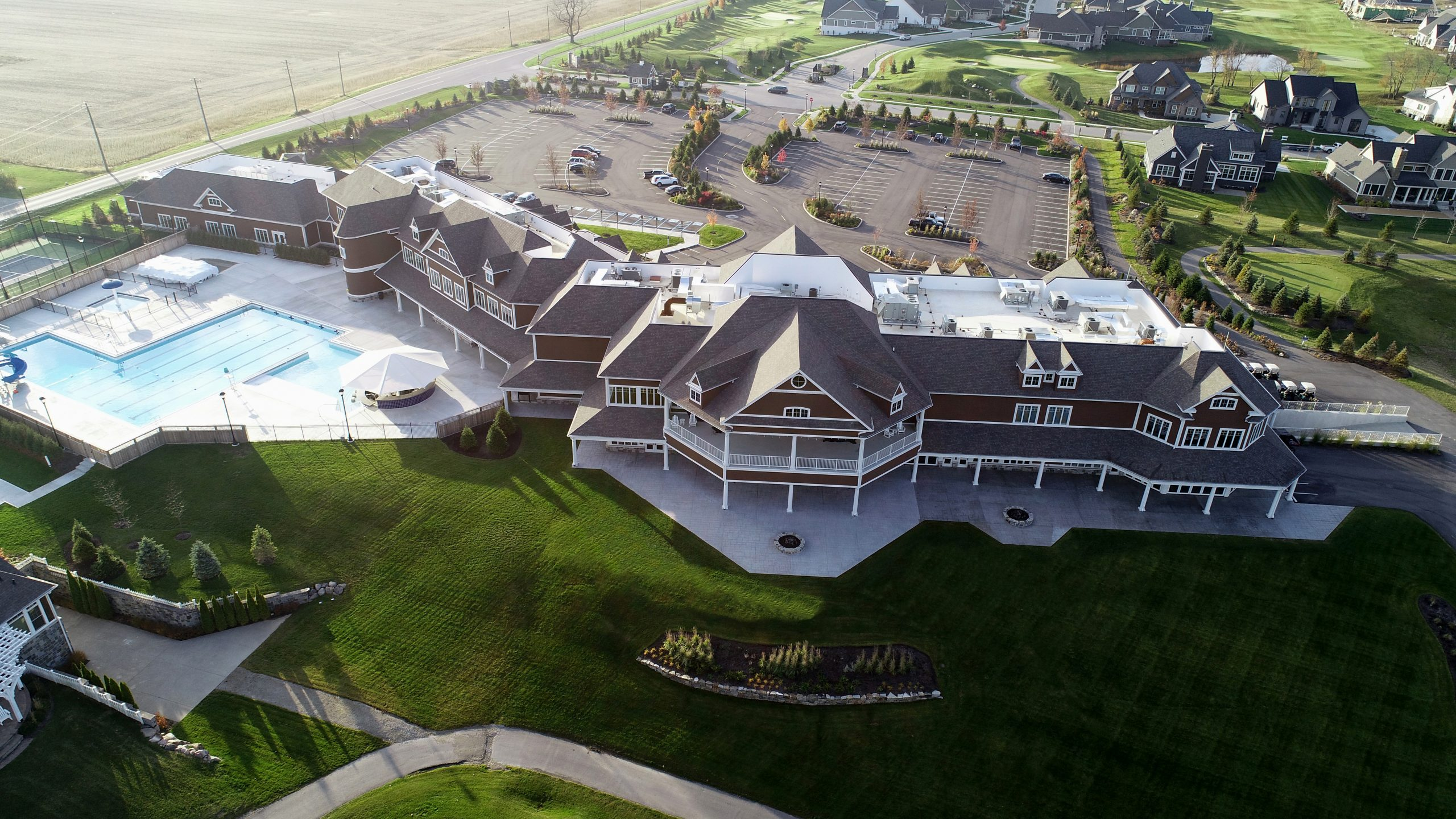 Chatham Hills clubhouse commercial roofing project by ce reeve roofing in indiana